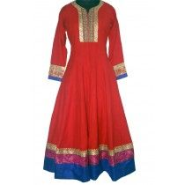 red and royal blue outfit by manchaali