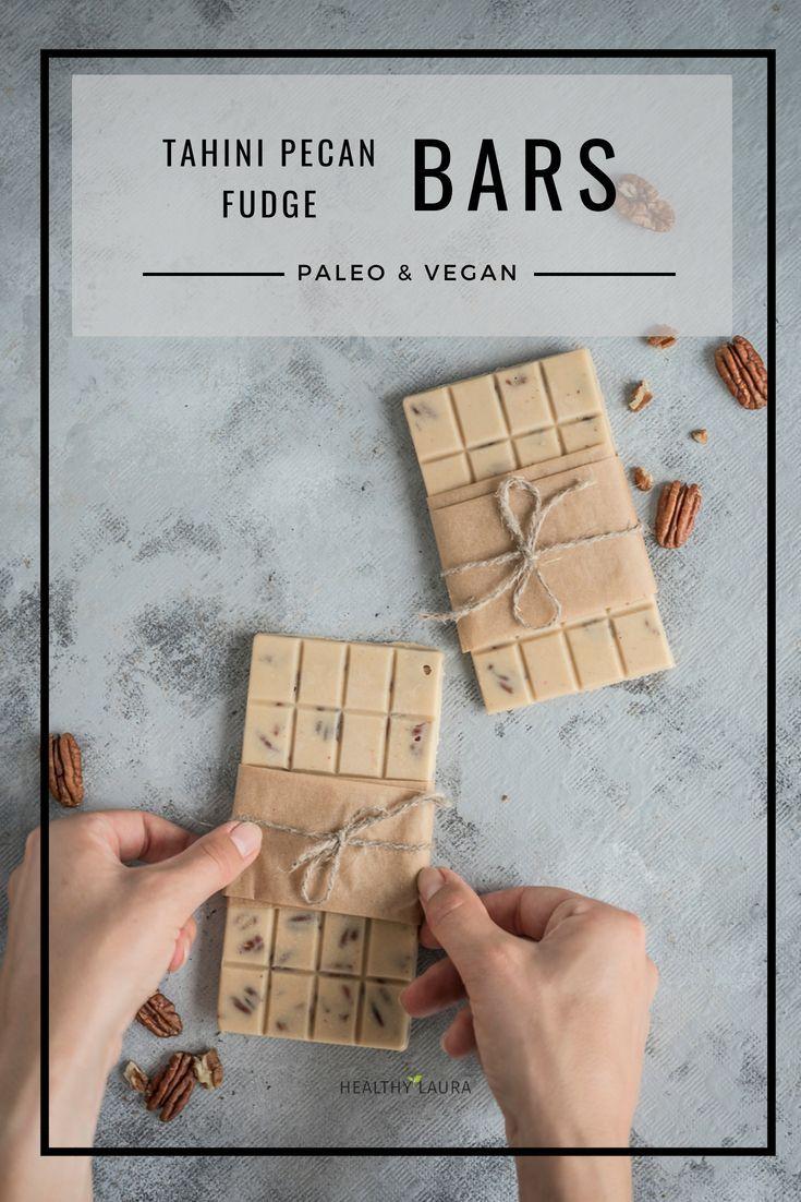 Tahini Pecans Chocolate Fudge Bars (Vegan & Paleo