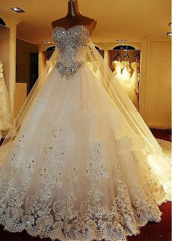 Luxury Tulle Satin Sweetheart Neckline A Line Wedding Dresses With