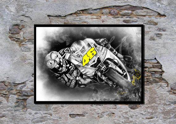 Valentino Rossi, MotoGP-kampioen, VR46, Wall Art print, Poster