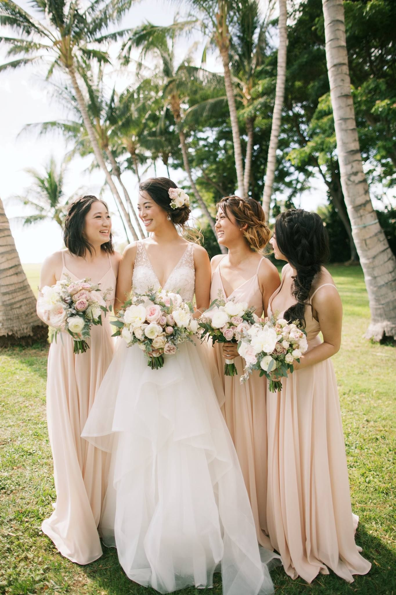 Pale pink bridesmaids dresses and bouquets bride tribe anna kim