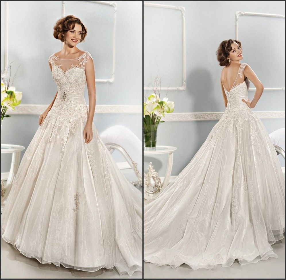 dropped waist ball gown wedding dress with cap sleeve