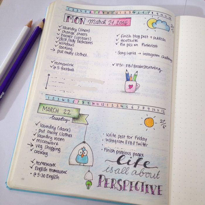 daily spreads in bullet journal focus and time