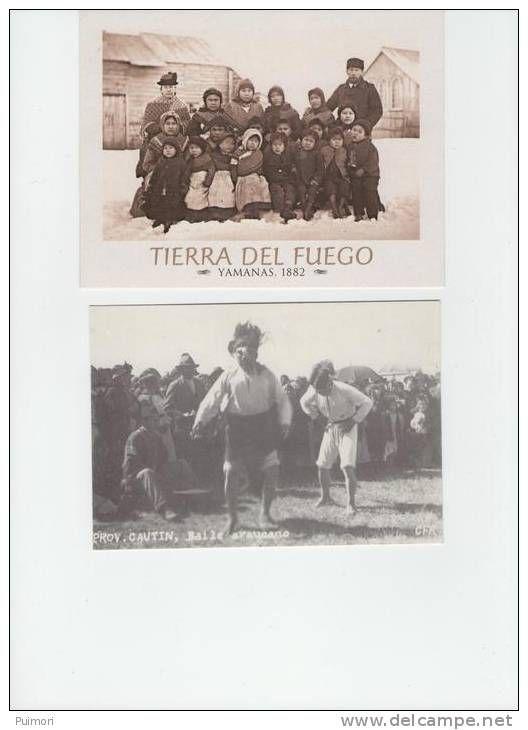 6 CARTES POSTALES APRES PHOTOS ANCIENNES TERRE DE FEU INDIENS YAMANAS SELK'NAM TIERRA DEL FUEGO