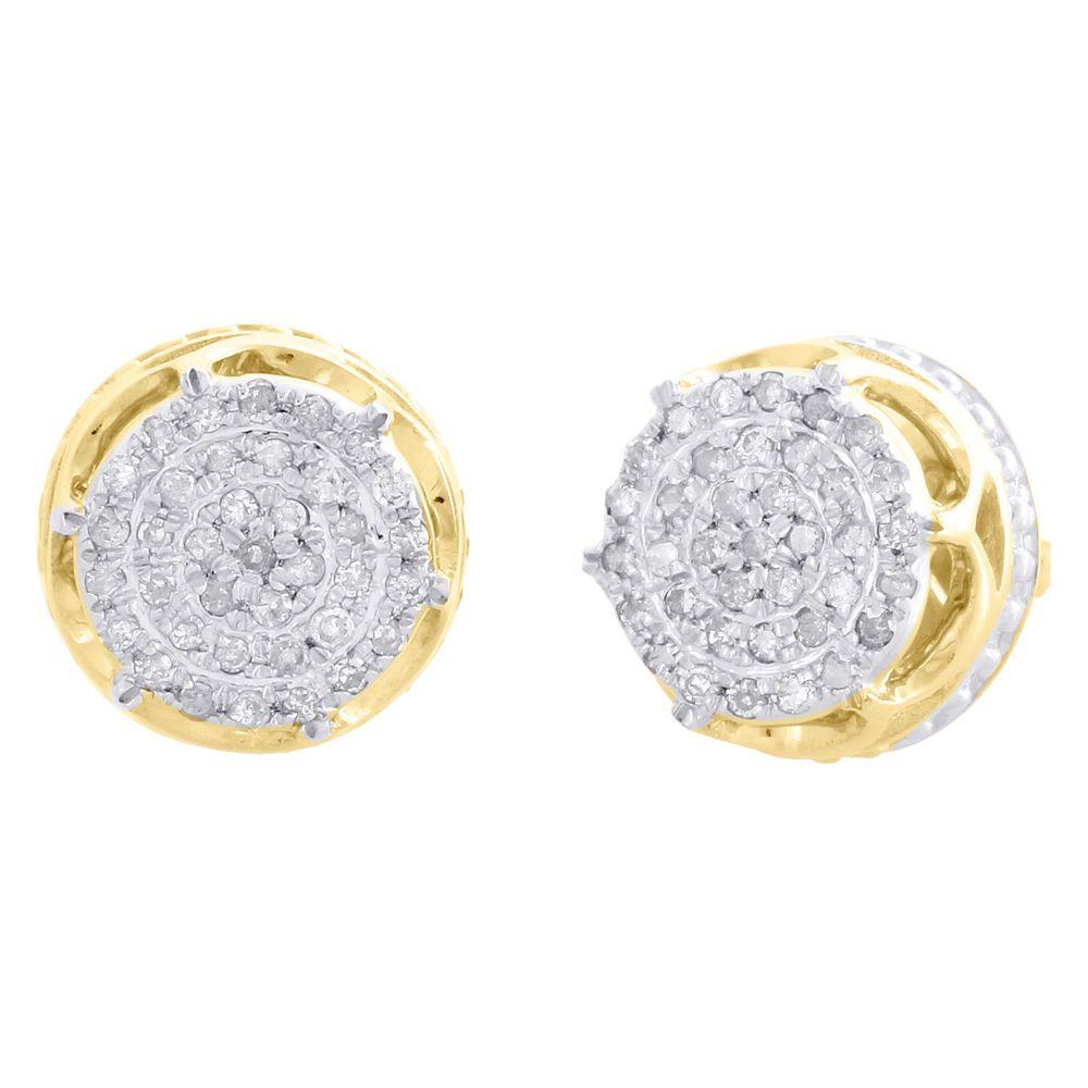 64649917af0 10K Yellow Gold Over D/VVS1 Diamond 6-Prong Studs Mens 3D Pave ...