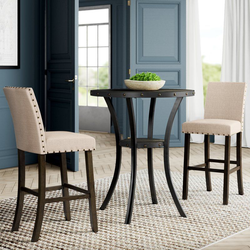 Haysi 3 Piece Bar Height Dining Set Pub Table And Chairs Pub Table Sets Pub Table
