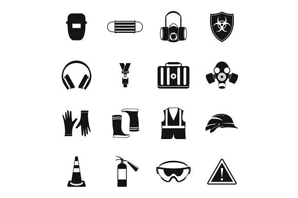 Safety icons set, simple style. Clothes Icons. $5.00