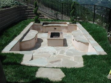 Landscape Steep Slopes Design Ideas Pictures Remodel And Decor Sunken Patio Pool Patio Fire Pit Backyard