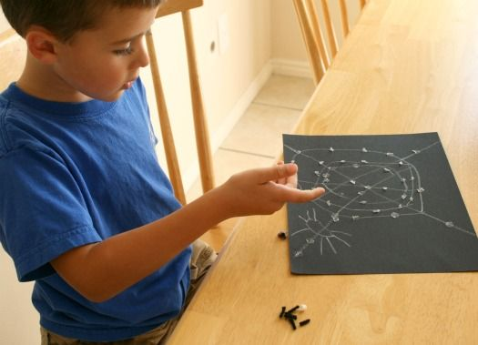 """We're getting stuck on these fun Sticky Spider Webs. As we throw our """"flies"""" at the web, we try to see if they'll get caught or if they can get out and fly away. Supplies for Sticky Webs: Glue Dots... Continue Reading →"""