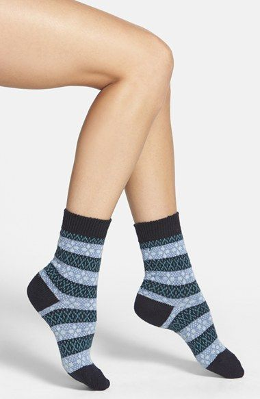 Pantherella 'Tara' Fair Isle Merino Blend Socks | Blue, Women's ...