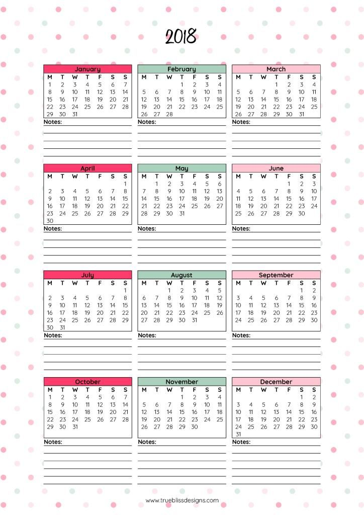 2018 Monthly Printable Calendar - Letu0027s Do This Printable - free journal templates