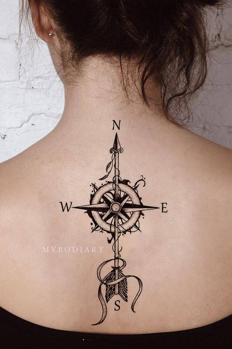 Wanderlust Compass Arrow Temporary Tattoo Tattoos For Women Arrow Tattoos Compass Tattoo