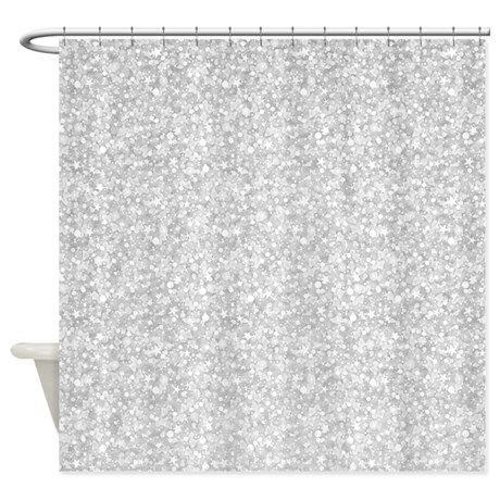 Silver Gray Glitter Sparkles Shower Curtain On CafePress