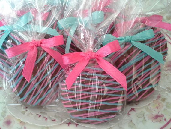 Baby Shower Gifts Wrapped In Clear ~ Dipped cookies with stripes wrap it up with a clear baggie and