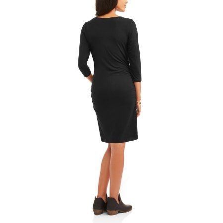 97a94cf39f Oh! Mamma Maternity 3 4 Sleeve Scoop Neck Dress With Flattering Side Ruching --Available In Plus Size