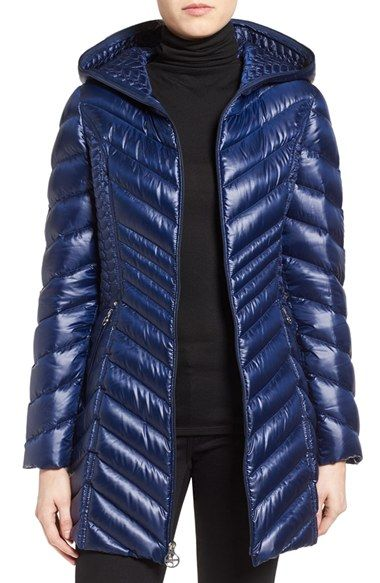 Laundry By Shelli Segal Side Panel Detail Hooded Down Coat Down