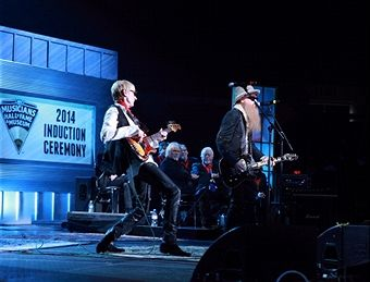 Will Lee and Billy Gibbons perform during the 2014 Musicians Hall of Fame Induction Ceremony at Nashville Municipal Auditorium on January 28, 2014 in Nashville, Tennessee.