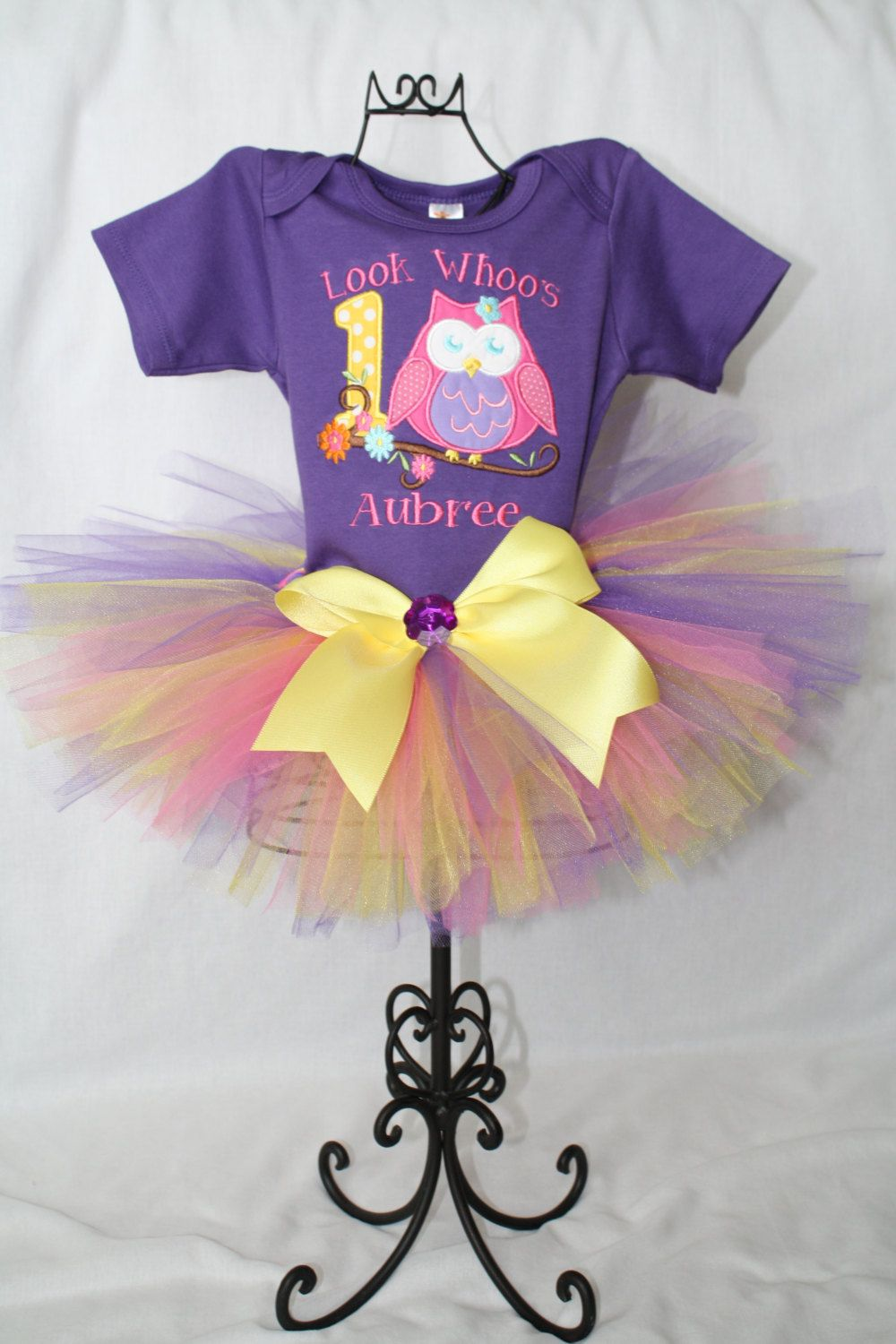 First Birthday Owl Blossoms Outfit Onesie and by