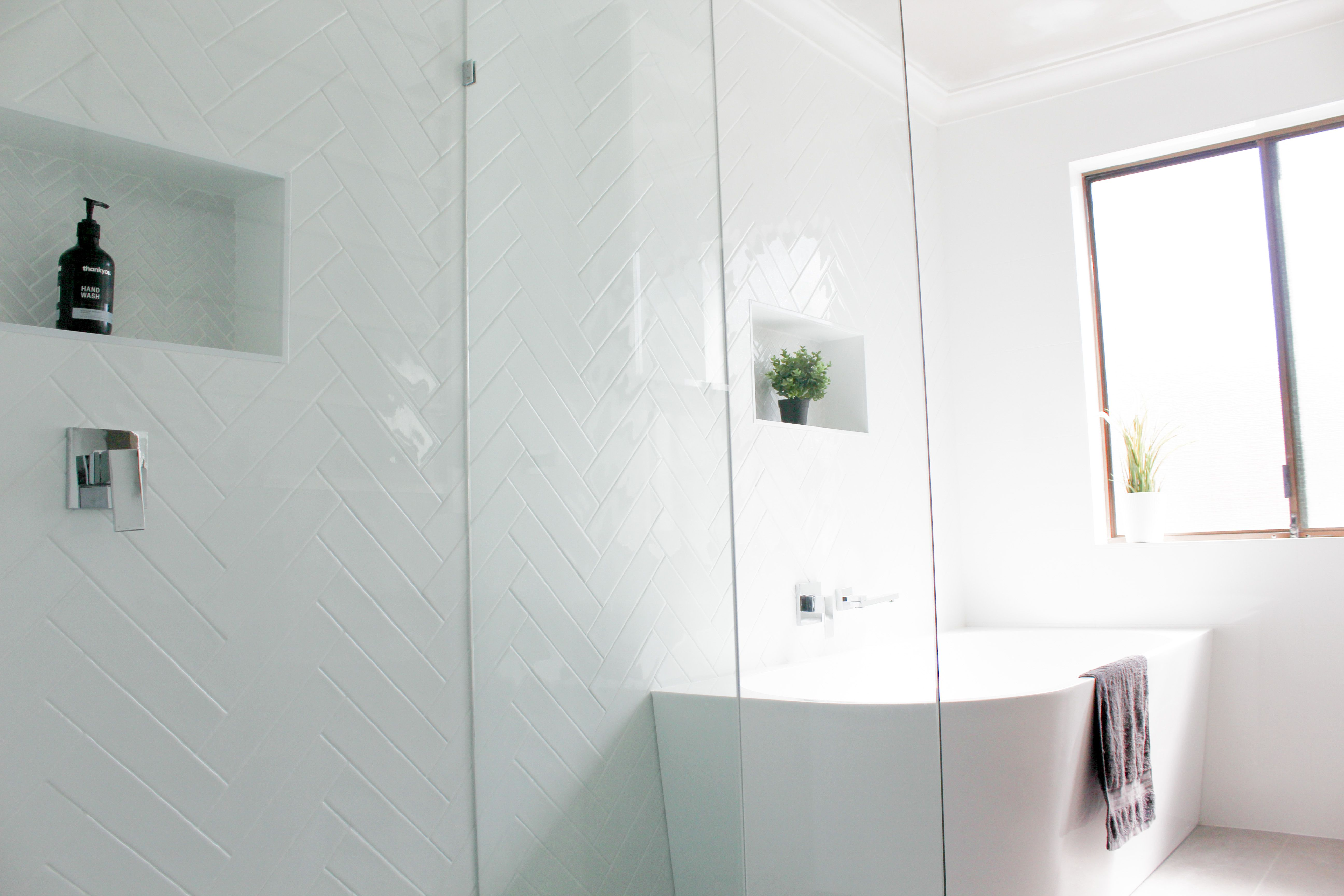 Freestanding Bath Subway Tiles Herrinbone Tiles Back To Wall