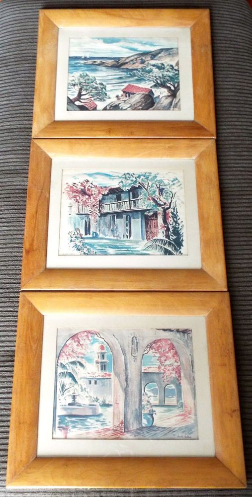 3 Lucille Hobbie Framed Southern CA Watercolor Prints For United ...