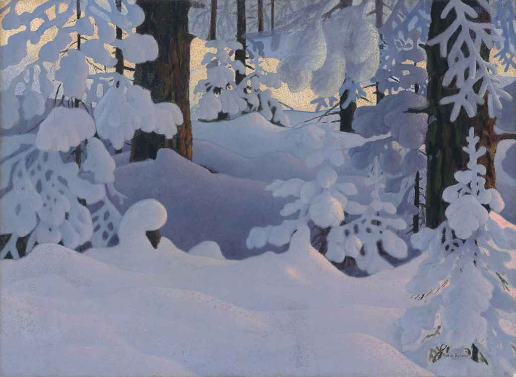 Snow Forest Landscapes SINGLE Leinwand Wand Kunst Bild drucken