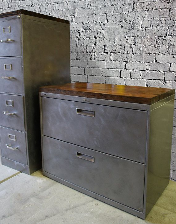 Refinished Metal Filing Cabinet 30 36 Or 42 Etsy Rustic Office
