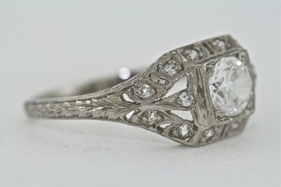 14kt White Gold and Diamond Art Deco Design by MasterPieceJewelers