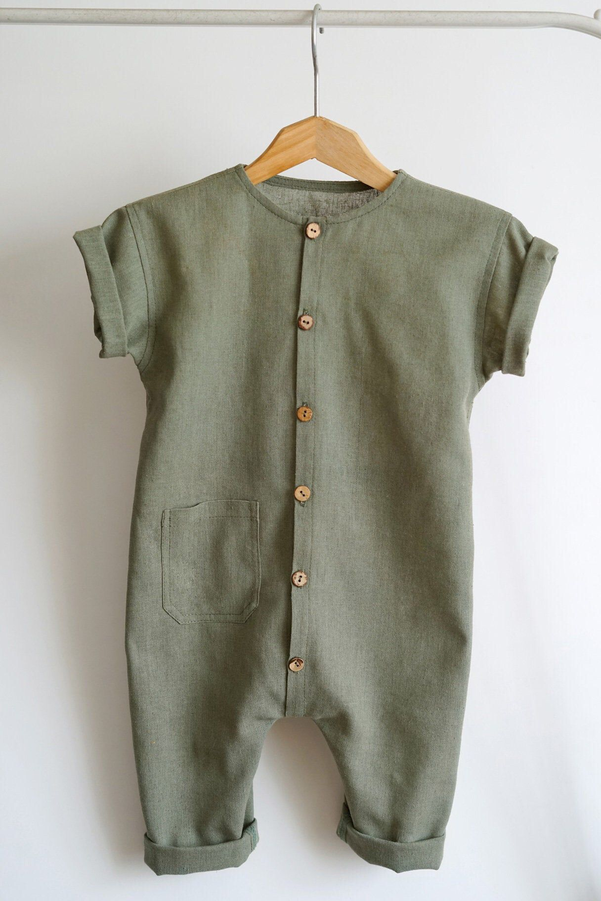 Baby olive romper Baby linen clothes Toddler jumps