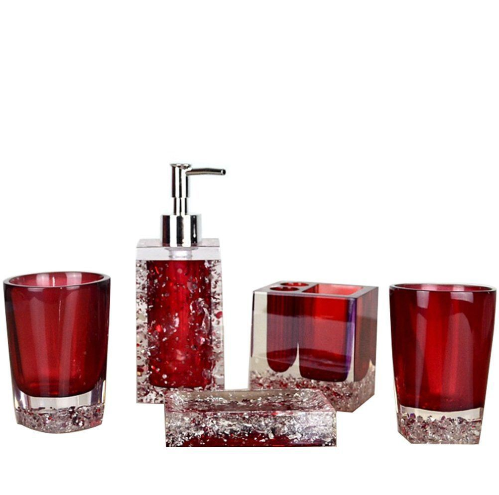 High Grade 5 Pieces Bathroom Accessory Set With Translucent Red