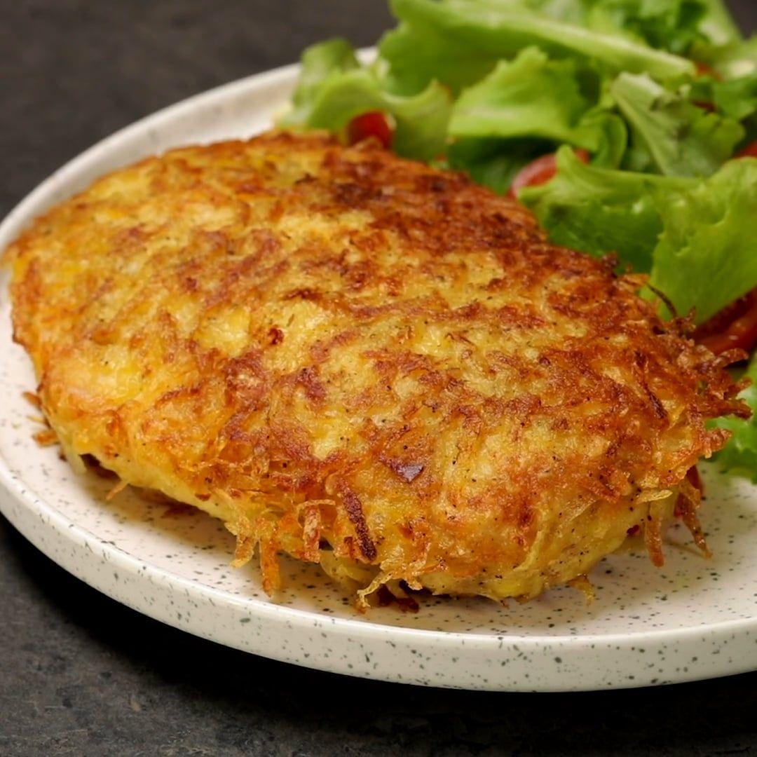 Pollo in crosta di patate con cuore di mozzarella