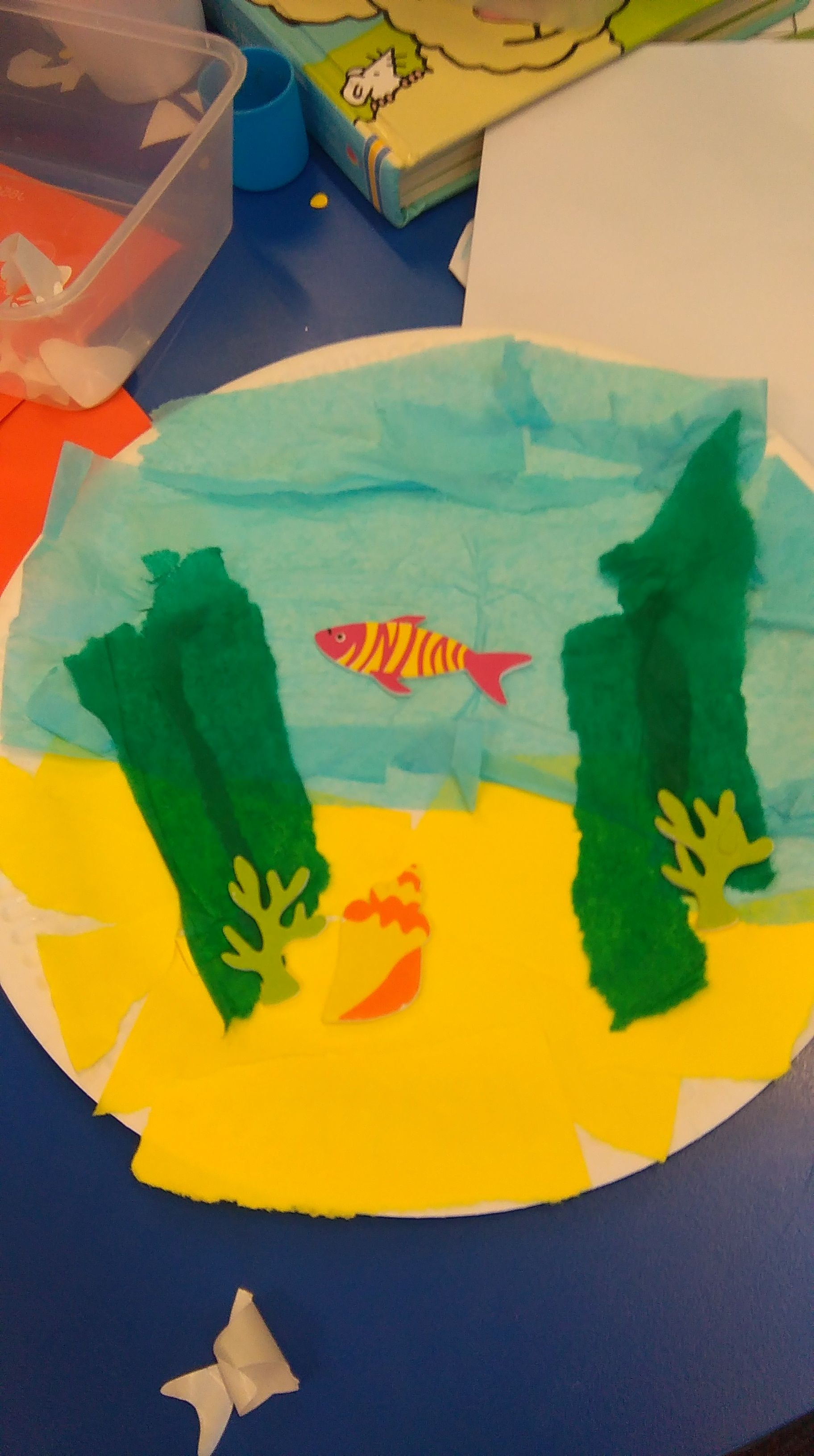 Under The Sea Paper Pate Craft With Tissue Paper And