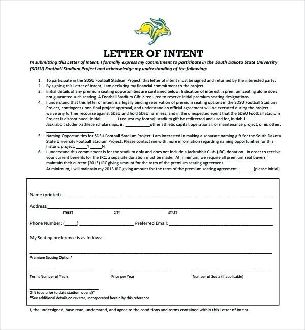 letter of intent exle exle letter of intent sle letters of intent - business letters