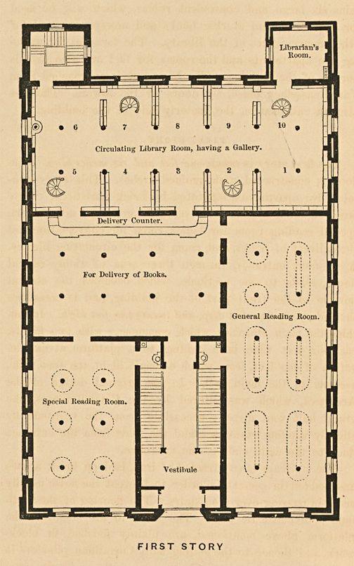 boston public library map Antique Boston Public Library Floor Plan 1858 Unique Wall Art boston public library map