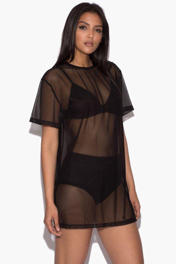 500054aa1ce5 Black Sheer Mesh Top T-Shirt Beach Cover Up Beachwear Summer Sheer Holiday  Festival Ibiza Swimwear D