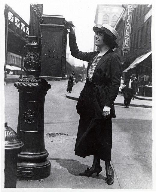 Woman Mailing A Letter  Vintage Photographs