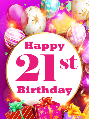 Shinning Balloon Happy 21st Birthday Card Birthday Greeting Cards By Davia Happy 21st Birthday Cards 21st Birthday Wishes 21st Birthday Cards