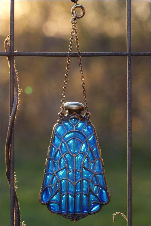 Edwardian Plique á Jour Perfume Bottle, Silver Cobalt Blue by Foster & Bro. Co.