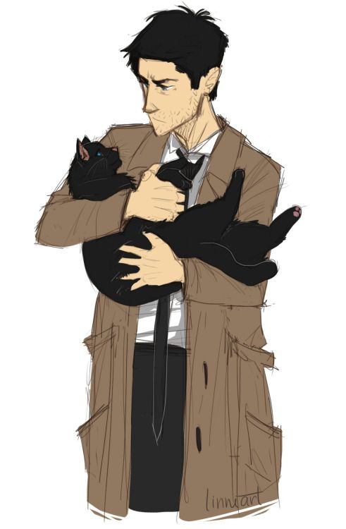 , can't believe I've never drawn Cas with a cat!! | SPN ...