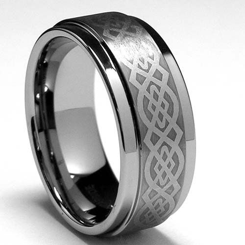 Bling Jewelry Celtic Dragon Comfort Fit Black Inlay Tungsten Carbide