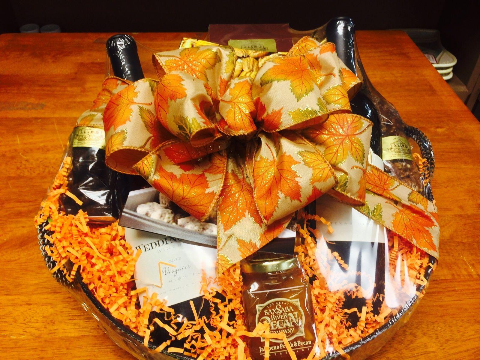 Alamo pecan wine baskets featuring wedding oak wines and
