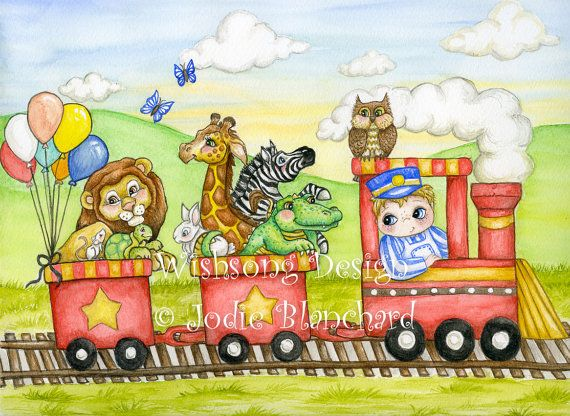 Train and animal nursery art  All Aboard  85 x by Wishsongdesign on etsy.