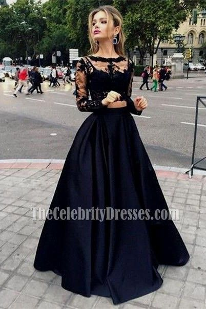 Black Two Pieces Evening Gowns Long Sleeves Satin Prom Dress Thecelebritydresses