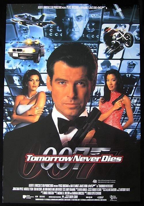 JAMES BOND ~ TOMORROW NEVER DIES 24x36 MOVIE POSTER Pierce Brosnan 007 Yeoh