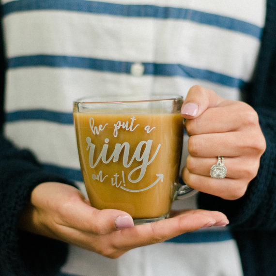 "Silver ""He Put a Ring On It"" Mug - (ONE) Engraved Tempo Sq. Glass Coffee Mug - Wedding - Engagement Gift - Couples Gift - Just Engaged Mug"