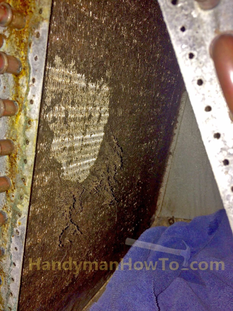 Ac Evaporator Coils Interior Clogged With Dirt And Mold How To Clean Inside Of