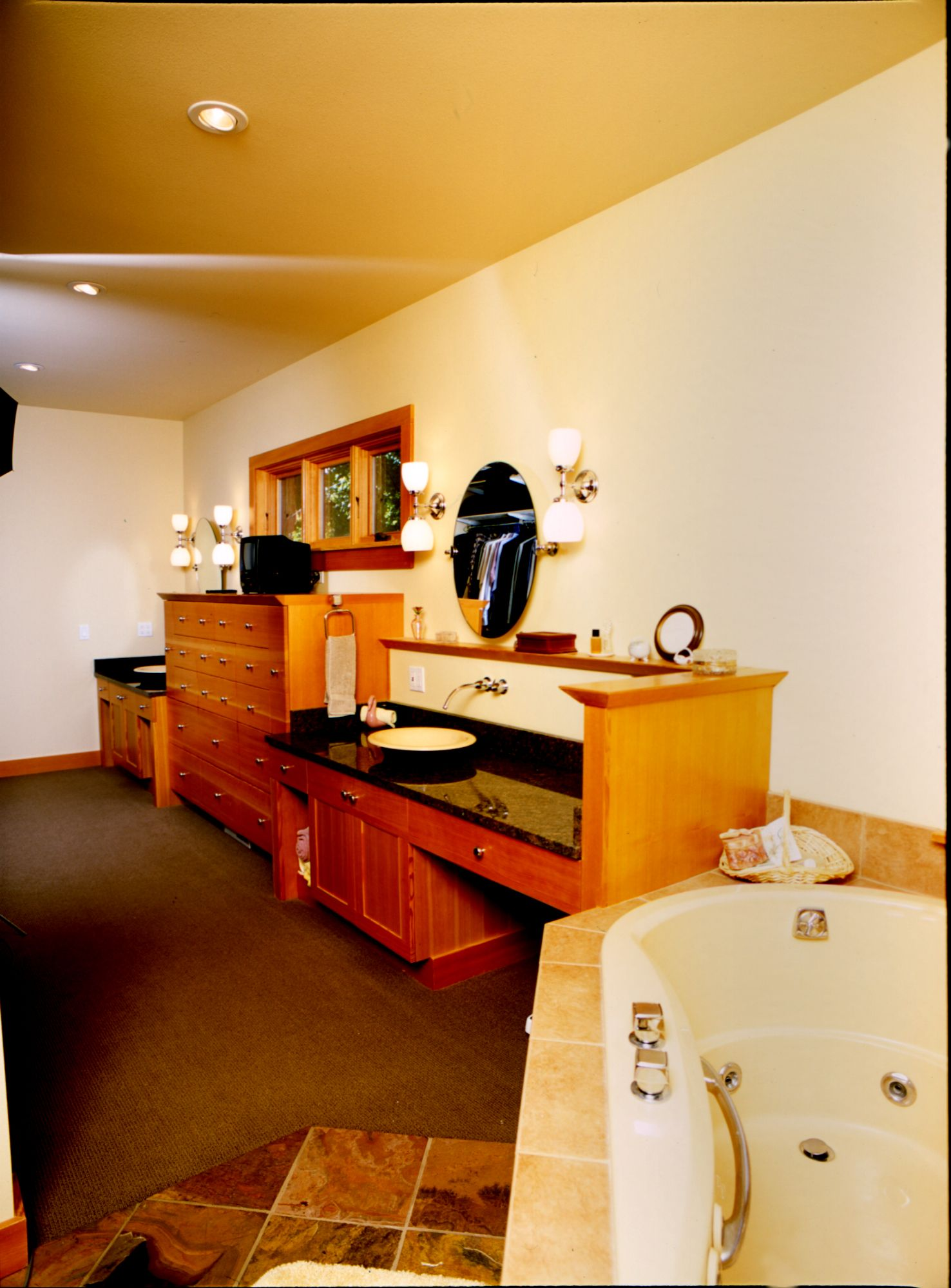 Fir wood species. Bathroom vanity and drawers. Stainless steel & Granite counter tops. Contemporary Style.