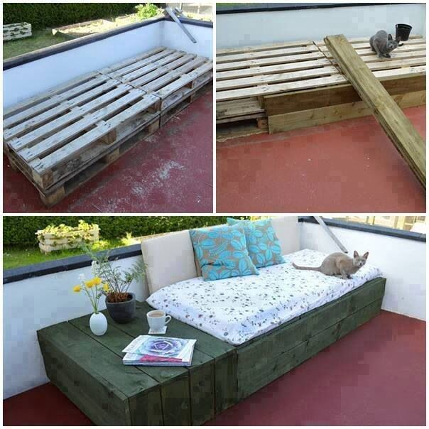 Terrasse/ Balkon | Pallet furniture outdoor, Pallet daybed ...