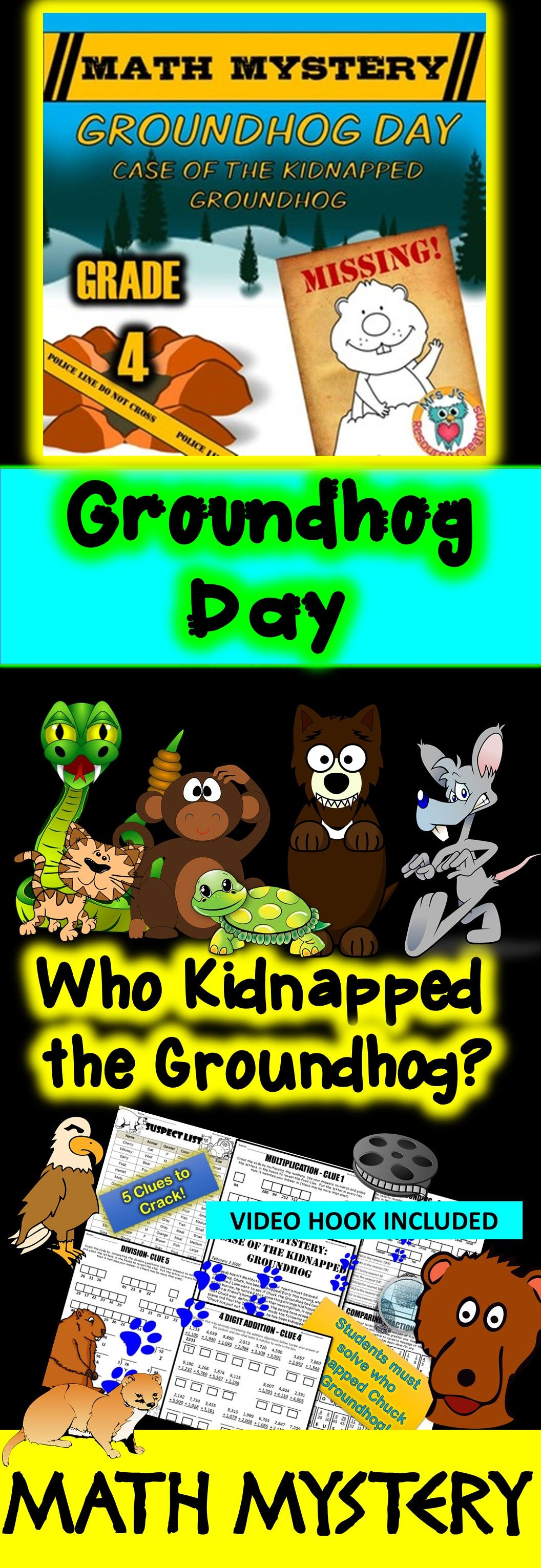 4th Grade Groundhog Day Math Mystery Activity