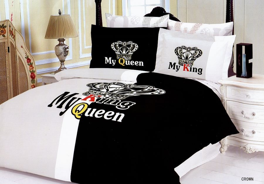 Crown Bedding Royal Couple Romantic Duvet Cover Full Queen Bed Set by Le  Vele