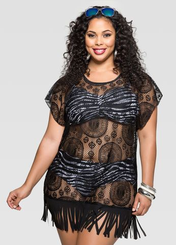swim cover-up fringe lace top | bathing suites (plus size